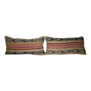 Set of Two Turkish Lumbar Kilim Pillow Cover, Ethnic Tribal Decor, Wool Cushion Cover 12'' X 24'' (30 X 60 Cm) For Sale