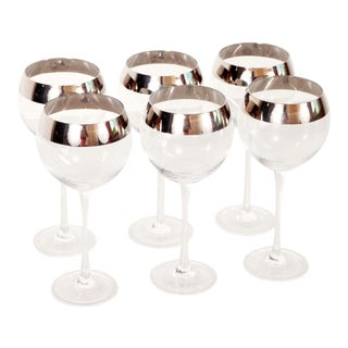Mid Century Modern Dorothy Thorpe Silver Rimmed Wine Glasses - Set of 6 For Sale