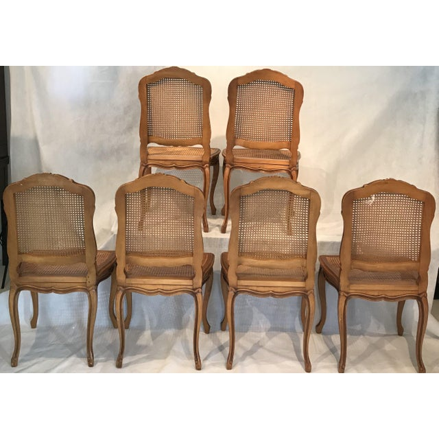 Classic Antique Set of 6 Louis XV Carved Walnut & Caned Dining Chairs For Sale - Image 12 of 13