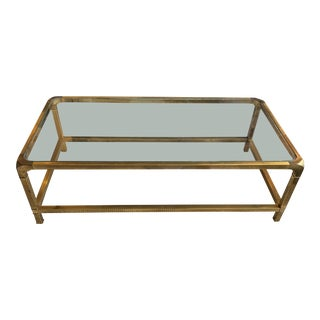 1970s Mid-Century Modern Mastercraft Rectangular Coffee Table For Sale