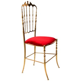 Polished Brass Chiavari Chair With Red Velvet, Italy, 1960s For Sale