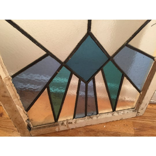 Vintage Art Deco Stained Glass Window Panel - Image 3 of 3