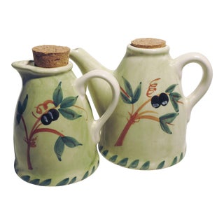 Williams Sonoma Hand Painted Oil and Vinegar Cruet Set For Sale