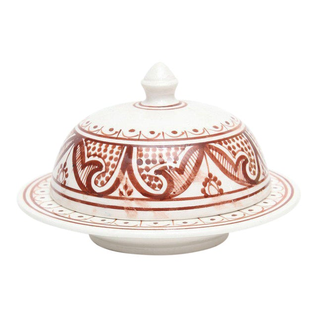Medium Hand Painted Moroccan Serving Tajine For Sale