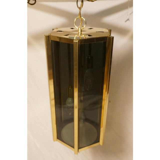 Fredrick Ramond Smoked Glass & Brass Pendant Lamp For Sale In New York - Image 6 of 6