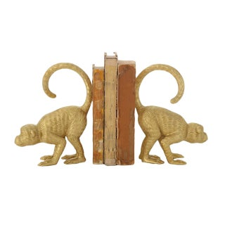Chinoiserie Gold Monkey Bookends - a Pair For Sale