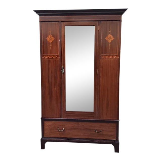 C. 1915 Mirror Door Inlaid Mahogany Armoire For Sale