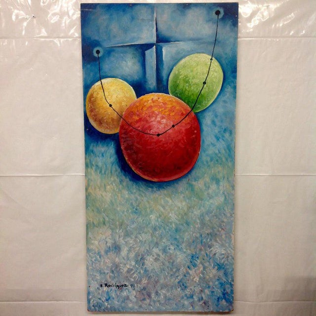 Mid 20th Century Vintage Mid-Century E. Rodriguez 'Theory' Absract Oil on Masonite Painting For Sale - Image 5 of 5