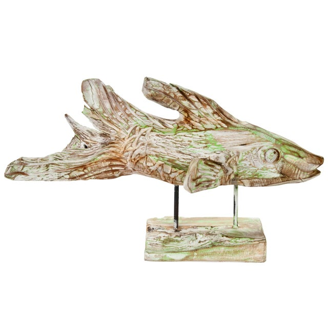Hand Carved Driftwood Fish On Stand - Image 3 of 5