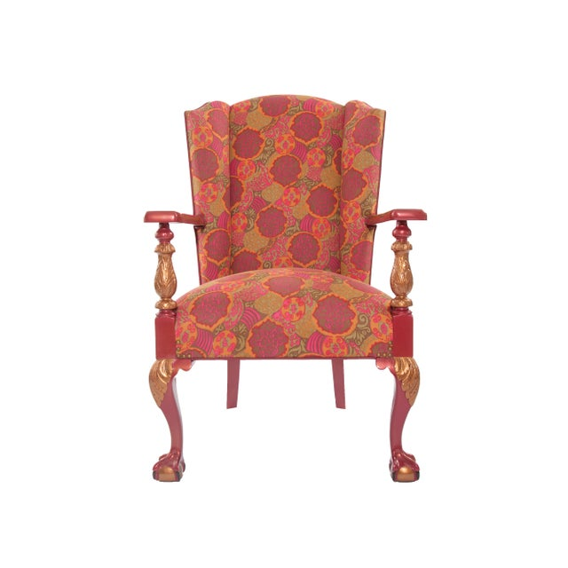 Pink 1910s Antique Chippendale Period Ball and Claw Upholstered Wingback Chair For Sale - Image 8 of 8