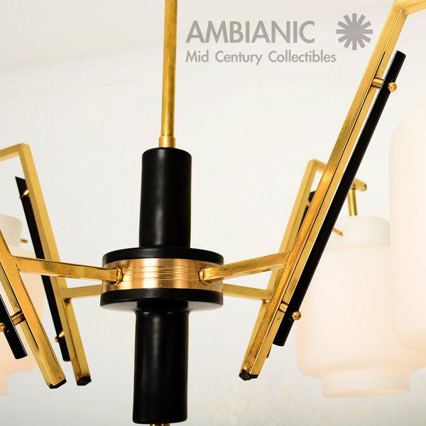 Aluminum Italian Chandelier With Opaline Shades For Sale - Image 7 of 8