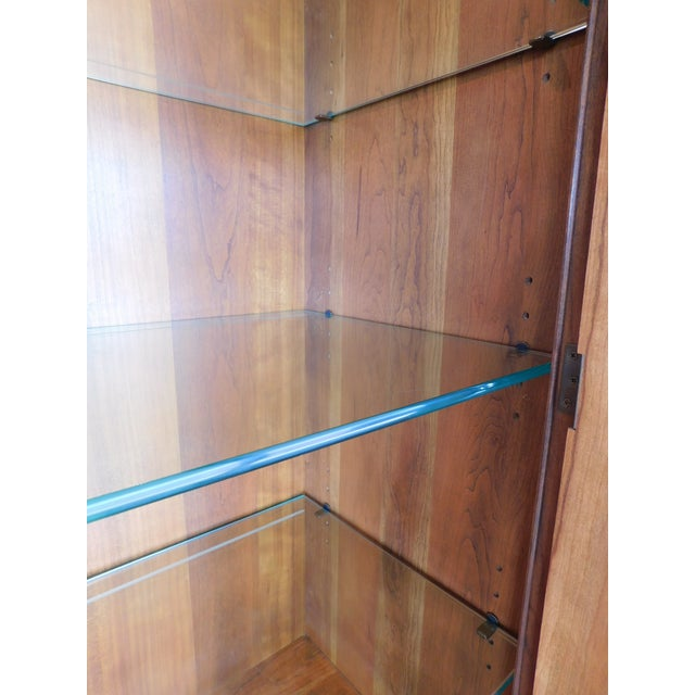 """English Traditional Stickley Cherry 4 Door Bookcase Lighted Display Wall Cabinet Model 4740 """"B"""" For Sale - Image 3 of 13"""