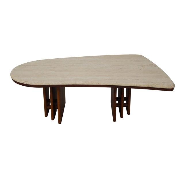Danish Teak Base Travertine Top Coffee Table - Image 1 of 9