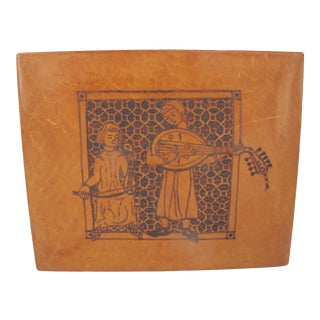 Giulio Giannini Firenze Tooled 2 Musicians on Leather Over Wood Writing Box For Sale