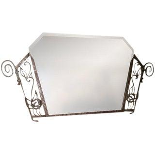 French Art Deco Wrought Iron Beveled Mirror