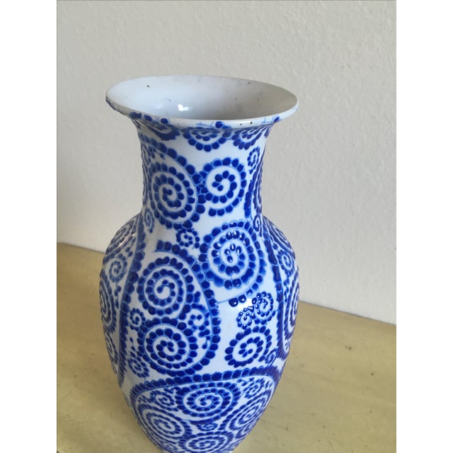 Mosaic Painted Vase, Contemporary Blue and White - Image 2 of 4