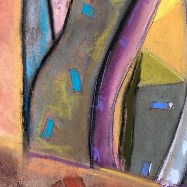 Abstract Who City, an Original Pastel by Erik Sulander 12x12 For Sale - Image 3 of 5