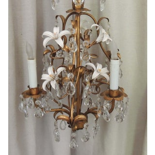 3 Light Italian Tole Chandelier With Lilies and Crystal Prisms Preview