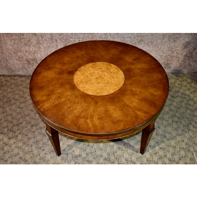 Wood Vintage Old Colony Regency Style Inlaid Lazy Susan Cocktail Table For Sale - Image 7 of 13