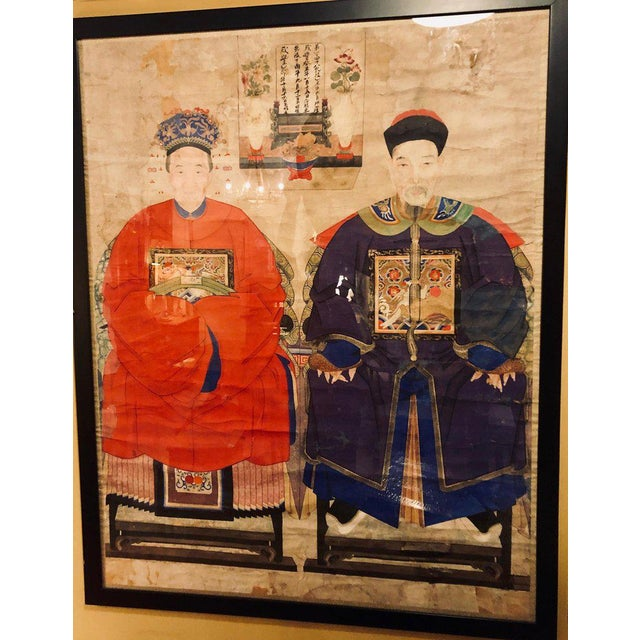 Asian Monumental Ancient Ancestor Portraits / Chinese Paintings on Rice Paper - a Pair For Sale - Image 3 of 13