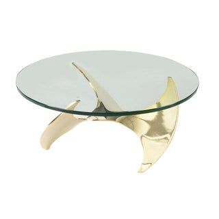 "20th Century Hollywood Regency Knut Hesterberg Brass ""Propeller"" Coffee Table With Heavy Glass Top For Sale"