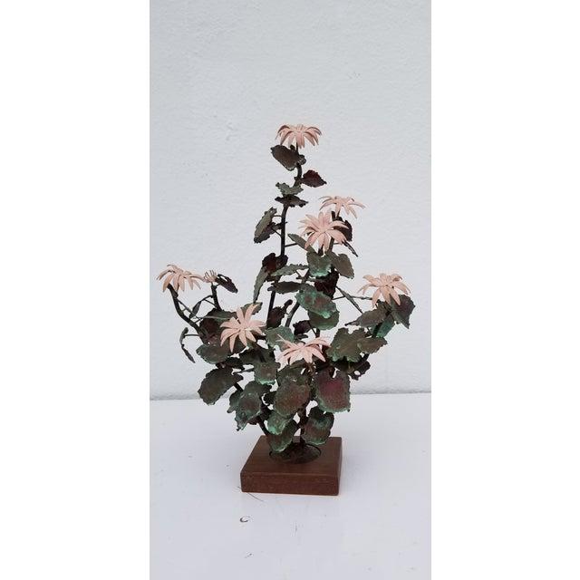 1970s Vintage Copper Plant Table Sculpture For Sale - Image 9 of 9