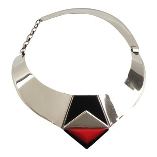 Fabrice Paris Necklace Art Deco Revival Chrome Black Enamel Red Resin For Sale