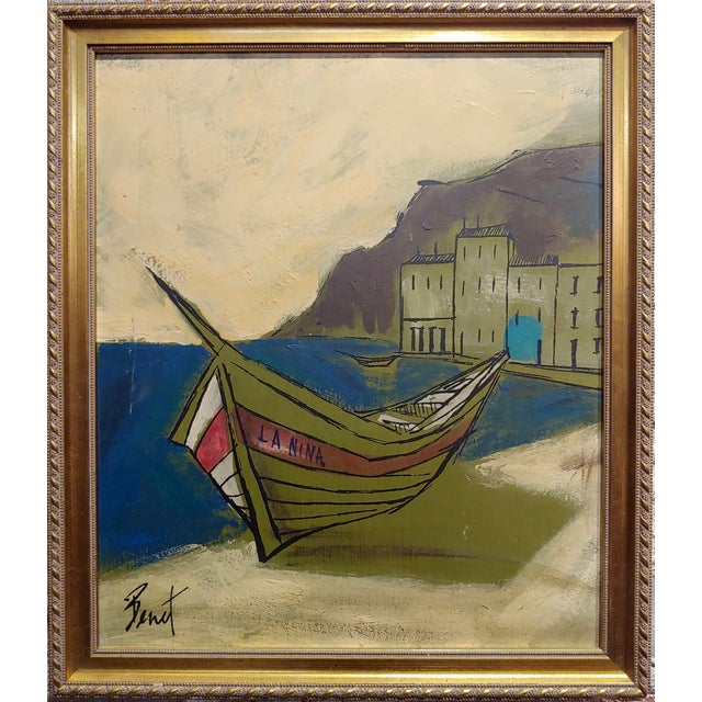 """Benet -Fishing boat ashore - 1960s French oil painting oil painting on board -signed circa 1960s frame size 13 x 15"""" board..."""