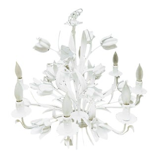 Large 8 Light White Powder Coated Tole Floral Rose Leaf Palm Beach Regency Chandelier For Sale