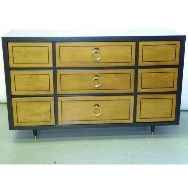 Hollywood Regency 1950s Modern Ebonized Mahogany Dresser Credenza with Brass Ring Pulls For Sale - Image 3 of 11