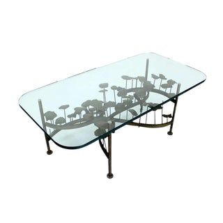 Mid-Century Modern Brass-Base Brutalist Coffee Table For Sale