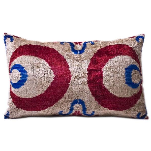 Red, Blue and Beige Silk Velvet Ikat Pillow - Image 1 of 2