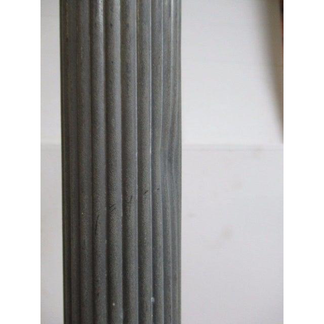 Gray Antique Aluminum Carved Industrial Regency Pedestal Candle Base For Sale - Image 8 of 10