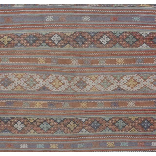 "Boho Chic Vintage Turkish Handwoven Kilim Rug - 6'2"" X 11'2"" For Sale - Image 3 of 4"