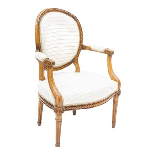 19th Century Louis XVI Style Fauteuil Chair For Sale