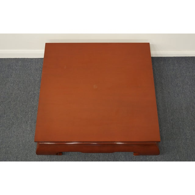 Contemporary Modern Asian Inspired Square Rust Red Coffee Table For Sale - Image 4 of 9
