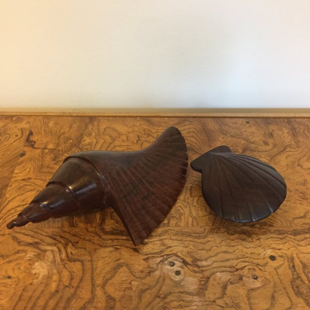 1970s Pair of Dark Carved Wood Shells For Sale - Image 5 of 5