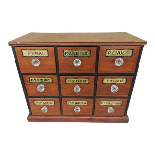 Antique 1920s Walnut Apothecary Chest For Sale