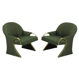 Uncommon Brass and Upholstered Art Deco Revival Lounge Chairs For Sale