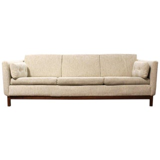 1960s Mid-Century Modern Danish Folke Ohlsson DUX 3-Seat Sofa on Walnut Base For Sale