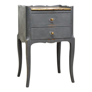 Antique French Provincial Gray Painted Marble Top Commode