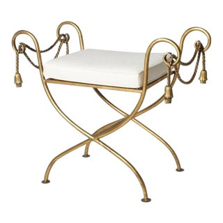 French Gilded Iron Dressing Bench, C. 1950 For Sale