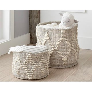 Pottery Barn Kids Metallic Woven Wool Basket Preview