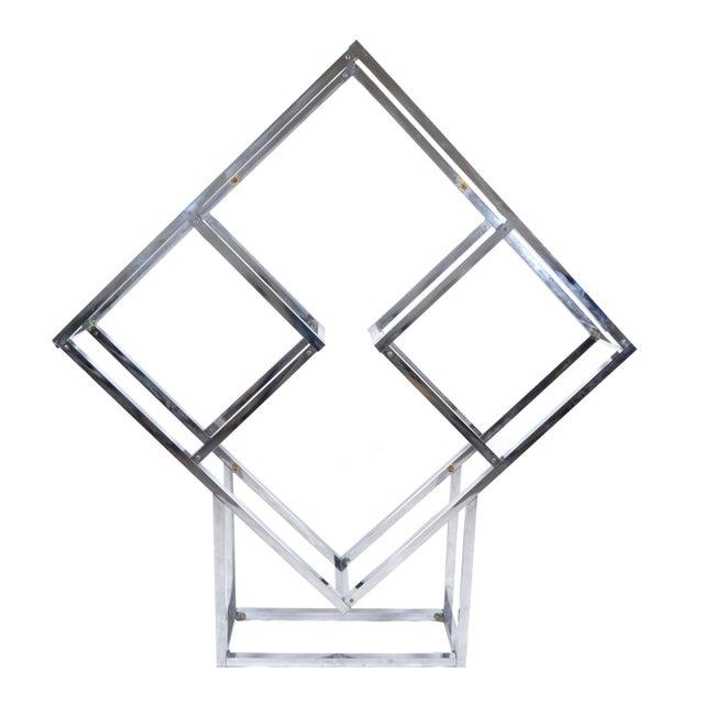 1970s Chrome Geometric Diamond Shaped Etagere For Sale - Image 9 of 9