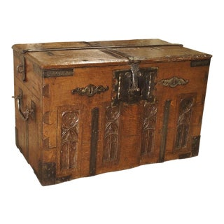 A 17th Century Oak and Iron Strong Box