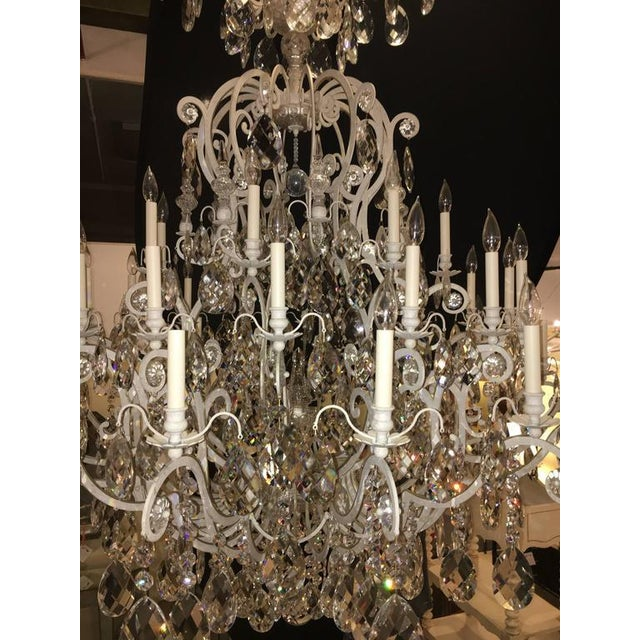 Brass Monumental German Schonbek Painted Brass and Crystal Chandelier For Sale - Image 8 of 11
