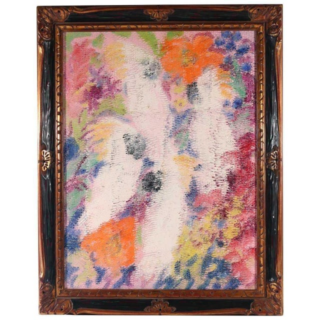 Birds and Hibiscus oil on canvas h. 40 w. 30 in. overall: 48 x 38 in. signed, titled, and dated on verso, framed Slonem is...