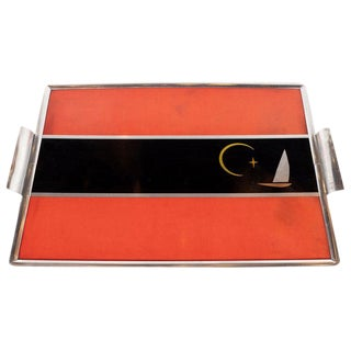 Art Deco Machine Age Aluminum and Inlaid Micarta Bar Tray by George Switzer For Sale