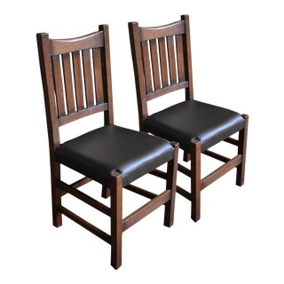 Crafters and Weavers Mission Spindle Dining Side Chairs- A Pair For Sale