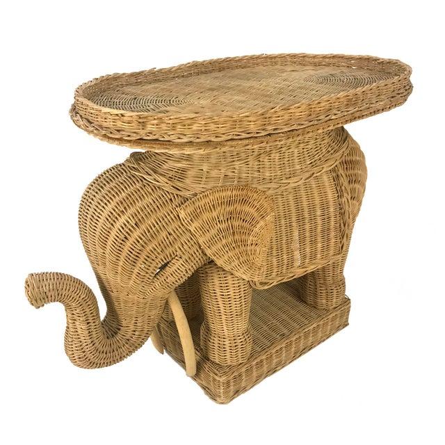 Vintage Woven Wicker Rattan Elephant Side Table - Image 4 of 7